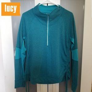 Lucy Athletic Jacket Medium 3/4 Zip Blue